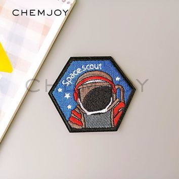 Trendy Astronaut Embroidered Iron Patch for Denim Jacket Sew Spaceman Applique Biker Patch Clothes Stickers Badges for Backpack Hats AT_94_13