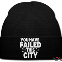 you have failed this city beanie knit hat