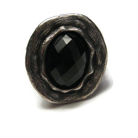 Modernist Faceted Onyx Sterling Ring Size 11