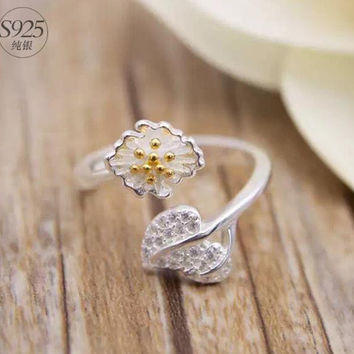 925 Sterling silver opening ring,elegant silver flower ring,silver branch ring,a perfect gift