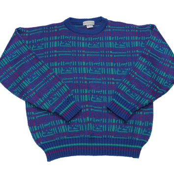 Vintage Leo Gemelli Purple/Green/Blue Acrylic Sweater Made in England Mens Size Large