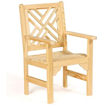 Leisure Lawns Amish Made Yellow Pine Chippendale Garden Chair Model #921 - Ships FREE within 2 to 3 Weeks