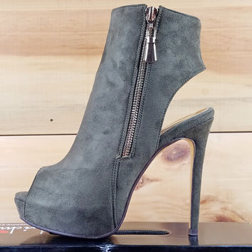 "Luichiny Kay Cee Army Green Ankle Boot - 5"" Heel"