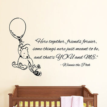 Winnie The Pooh Wall Decals Piglet On Balloon Quotes Friends Forever Lovely Interior Vinyl Decal Sticker Baby Kids Nursery Room Decor Kg834