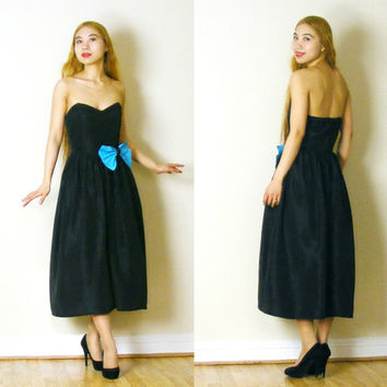 Vintage Little Black Dress - 70s Does 50s Strapless Black Taffeta Dress with Blue Bow - Cocktail Party (xs small)