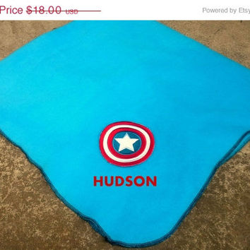 ON SALE Captain America Fleece Baby Blanket - Super Hero - Personalized