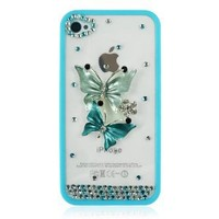 Distressed Butterfly Rhineston Transparent Case For iPhone 4/4S