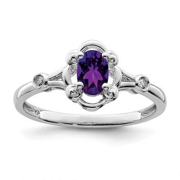 Sterling Silver Amethyst Oval And Diamond Ring