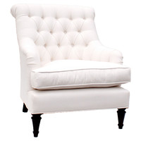Barclay Butera, Tiffany Tufted Linen Club Chair, Oyster, Club Chairs