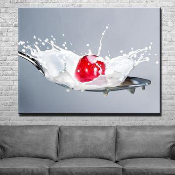 Milk Cherry Life Kitchen and Dining Room Wall Decor Canvas Set