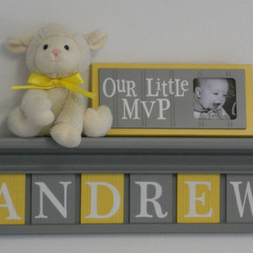"Baby Boy Room Decoration Name Nursery Decor 24"" Shelf Gray and 6 Wooden Wall Letters Yellow and Gray - ANDREW"