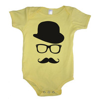 MUSTACHE WAYFARER Hat Baby Girl Onesuit Bodysuit - American Apparel - 3-6m, 6-12m, 12-18m, 18-24m, (7 Color Options)