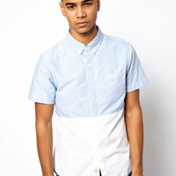 Native Youth Cut & Sew Shirt - Sky blue / white