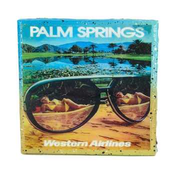 Handmade Coaster Vintage Travel - Palm Springs Western Airlines Handmade Recycled Tile Coaster