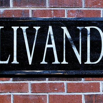 Ollivanders Painted Wood Sign, distressed for vintage aged look, wand shop sign