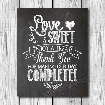 Chalkboard Wedding Sign, Printable Wedding Sign, Chalkboard Wedding Love Is Sweet Sign, Wedding Decor, Wedding Signage, Instant Download