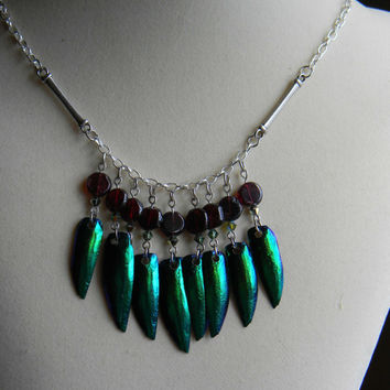 Tribal Goddess Beetle Wing Necklace