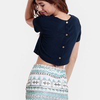 Martine Button-Back Blouse In Blue