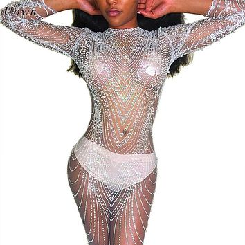 Sexy Sheer Mesh Long Sleeve Sequin Dress Women O Neck Sparkly See Through Bodycon Club Wear Night out Glitter Dresses for Party