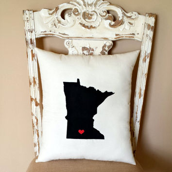 State Throw Pillow, United States, Dorm Decor, Home Decor, Housewarming Gift, Christmas Gift, Gift for Her, Birthday Gift