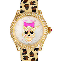 Betsey Johnson Watch, Women's Leopard Print Patent Leather Strap 41mm BJ00019-25 - Betsey Johnson - Jewelry & Watches - Macy's