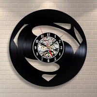 Superman Black Vinyl Record Wall Clock Home Decor.