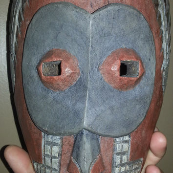 VINTAGE 1920s - 1950s Hand Carved Antique AFRICAN Tribal Mask - Natural Pigment Colored Ethnic Primitive Folk Art, Original Leather Strap