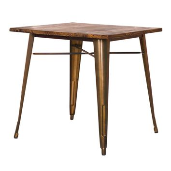 Grand Metal Square Dining Table COPPER - CLEARANCE