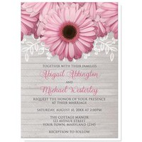 Rustic Pink Daisy Gray Wood Wedding Invitations