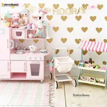 Gold Heart Wall Sticker Baby Nursery Stickers Children Removable Wall Decals Home Decoration Art Vinyl Wall Stickers Kids Room