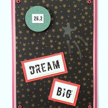 Dream Big 26.2 Handmade Marathon Running Greeting Card for Runners or Walkers (Pink) - Motivational, Encouragement, Good Luck