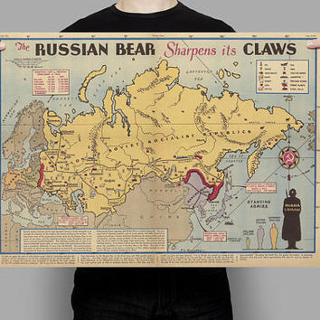 Soviet Russia Sphere of influence Map before WWii| Pictorial USSR Map| CCCP Old Map| WWii Soviet Map| Euroasia Map| USSR Antique Map| AMC018