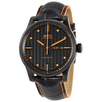 Mido Multifort Automatic Black Dial Black Leather Mens Watch M0054303605180