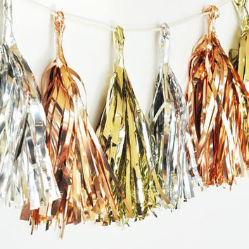 Garland Mini Metallic Foil Tassel - Set of 18 Tassels - Gold Silver or Rose Gold Wedding Party Decor Baby Shower Decorations Birthday