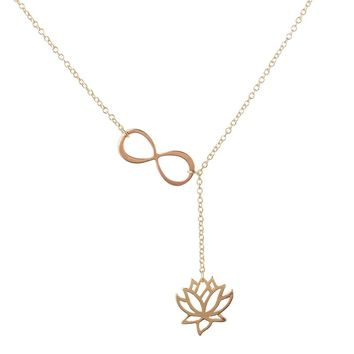 "2016 Fashion Infinity Lotus Lariat Pendant Necklace for Women 18"" Link Chain Plant Lotus Flower Jewelry Necklaces Party Gifts"