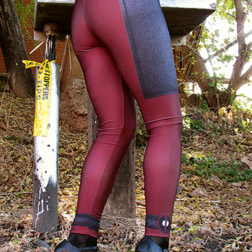 TAFI Lady DEADPOOL Costume Leggings in 3 SIZES for 2015! Affordable Yoga Pants Black Milk Galaxy Sky Marvel Hero Costume CosPlay Print