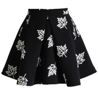 Maple Embroidered Skater Skirt Black