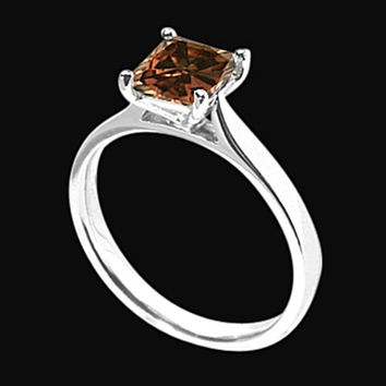 1.25 carat Brown radiant diamond solitaire ring white gold