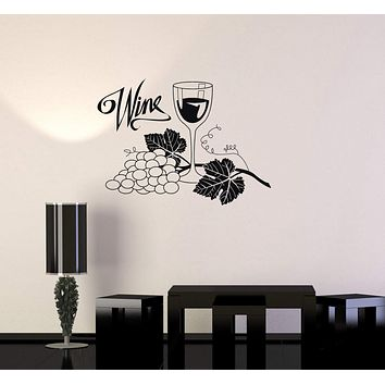 Vinyl Decal Wine Grapes Glass Alcohol Drink Bar Kitchen Wall Stickers Unique Gift (ig2759)
