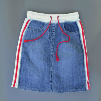 Vtg denim sport skirt Jean skirt High waist skirt 90s School denim skirt Vintage 90s girls Tennis skirt