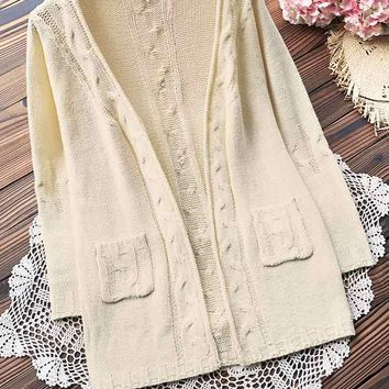 Cupshe Fresh Cream Solid Cardigan