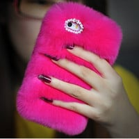 Rose Fur Iphone Case for 4S 5 5S 6 6 S Plus