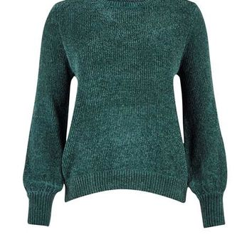 CHENILLE KNIT BLOUSE WITH BALLOON SLEEVES | GREEN