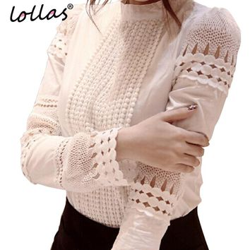 lollas S-5XL New Fashion Spring Autumn Women White Lace blouses Cutout Long-sleeve Shirt OL Work Wear Women Blouse Tops