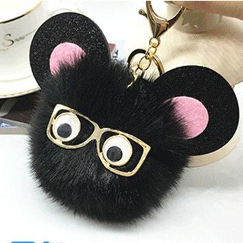 2017 New Glasses Fluffy porte clef pompom de Fourrure women pompon Pom Pom Keychain Fur Ball gold Key Chain Rings llavero Bag