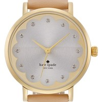 Women's kate spade new york 'metro' scallop dial leather strap watch, 34mm