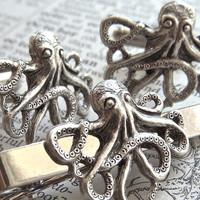 Octopus Cufflinks & Octopus Tie Bar Set Of 3 Silver Plated Men's Cufflinks Nautical Steampunk Style Gothic Victorian By Cosmic Firefly
