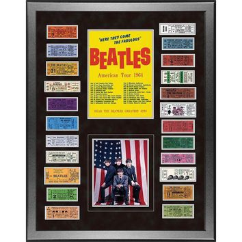 DCCKU7Q The Beatles American Tour 1964 Framed 24x32 Ticket Collage