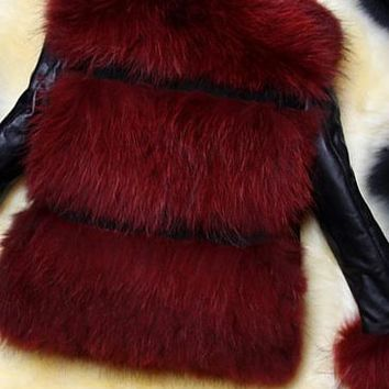 Chicloth Lapel Patchwork Fluffy Faux Fur Coats