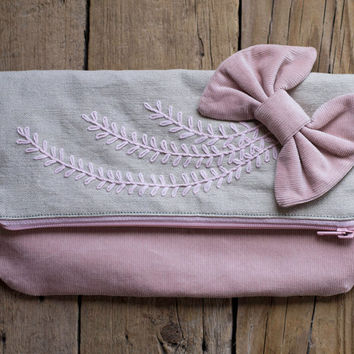 Bohemian Fold-over Clutch, Boho Pink Hand embroidered Clutch, Natural Linen Cotton Foldover Clutch